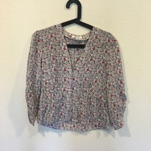 Madewell floral long sleeve blouse